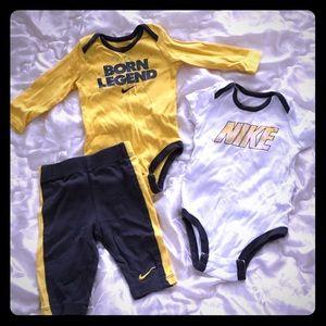Baby Nike 3 piece set size 3-6 months yellow/grey